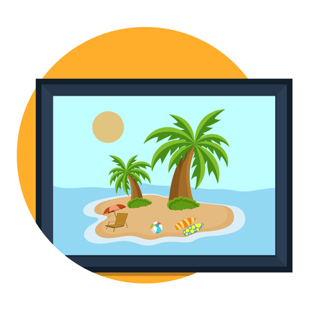 holiday picture: illustration of beach picture icon isolated on white Illustration