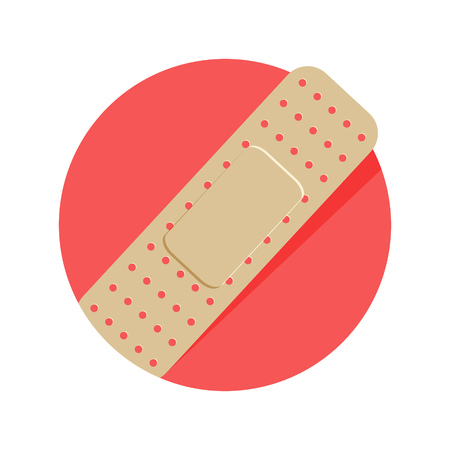injury: illustration of injury tape plaster icon isolated on white