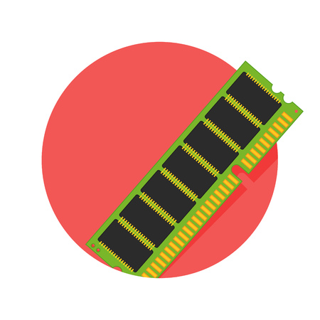 random access memory: illustration of computer memory icon isolated on white
