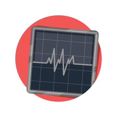 oscilloscope: illustration of electric wave icon isolated on white Illustration