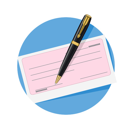 checking accounts: illustration of check and pen icon isolated on white Illustration