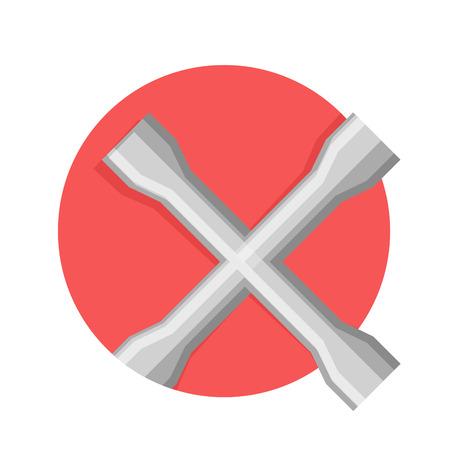 lug: Wheel wrench or lug wrench icon. Flat style