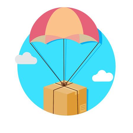 fallschirm: Abbildung Paket fliegen nach unten von Himmel mit Fallschirm, Lieferung Service-Konzept