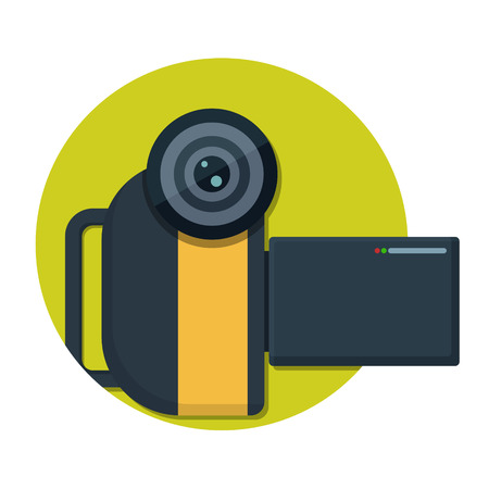 digital camera: illustration of Video camera icon isolated on white Illustration