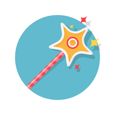 magician wand: illustration of magic wand icon isolated on white Illustration