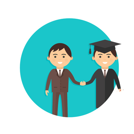 teacher and student: illustration of graduate and teacher icon isolated on white