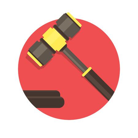 gavel: illustration of Gavel icon isolated on white