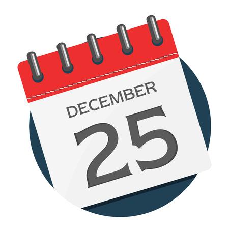 illustration of Christmas calendar icon isolated on white Illustration