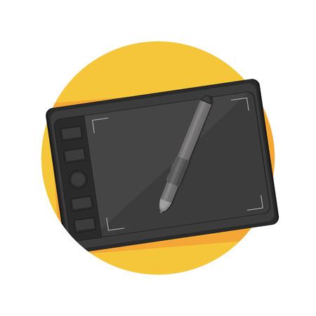 digitizer: illustration of drawing tablet icon isolated on white Illustration