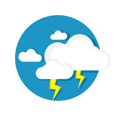lightning storm: illustration of cloud and lightning icon isolated on white