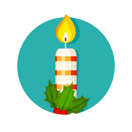 advent wreath: Christmas candle and holly berry illustration