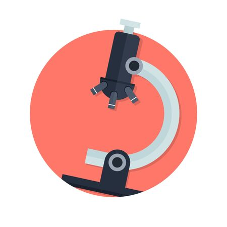 microscope: illustration of microscope icon isolated on white Illustration