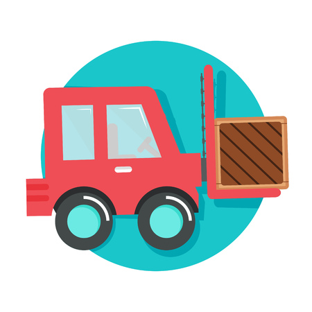 carretillas almacen: ilustración del icono de la carretilla elevadora aislada en blanco