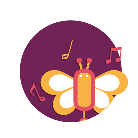 compose: illustration of Butterfly music icon isolated on white