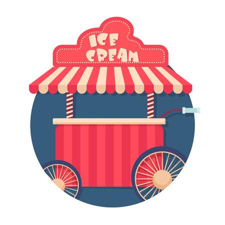 carretto gelati: illustrazione di gelato carrello icona isolato su bianco Vettoriali