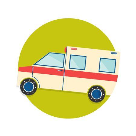 ambulancia: ilustración del icono del carro de la ambulancia aislado en blanco Vectores
