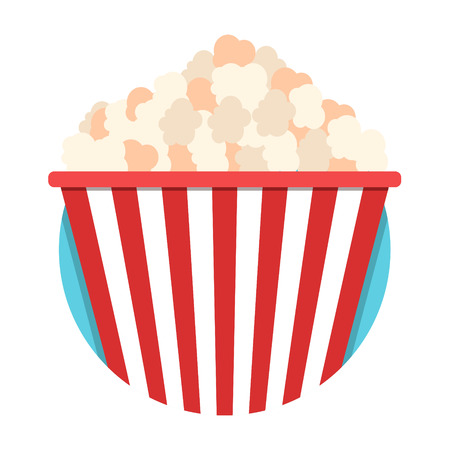 eating popcorn: illustration of Popcorn icon isolated on white Illustration