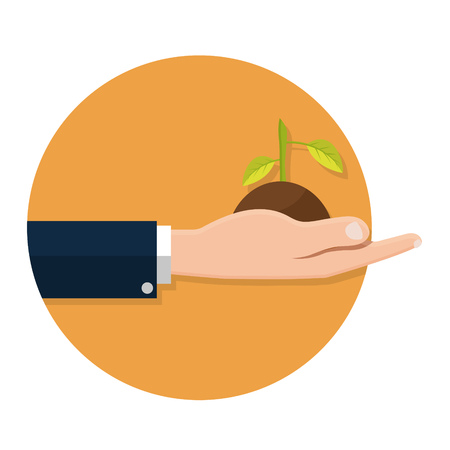 seedlings: illustration of Hands holding seedling icon isolated on white