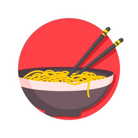 asian noodles: illustration of Asian traditional food, noodles icon