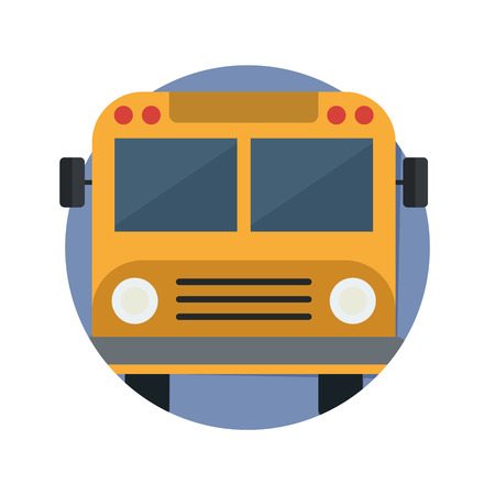 autobus escolar: illustration of School Bus icon isolated on white Vectores