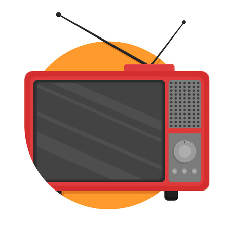 television set: illustration of Retro Television icon isolated on white Illustration