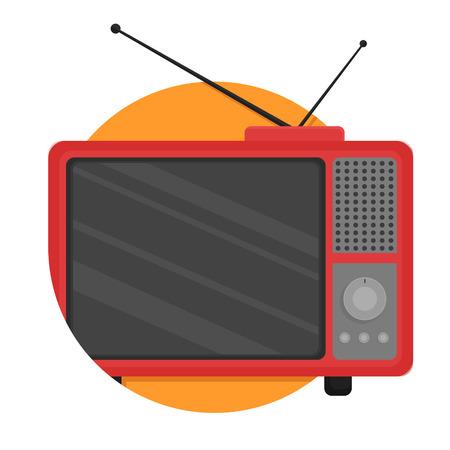 Ilustracja ikony retro telewizji izolowane na białym