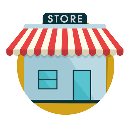 illustration of shop store icon isolated on white Ilustração
