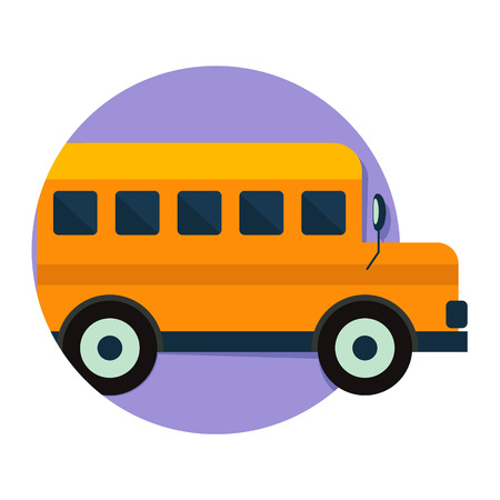 school icon: illustration of School Bus icon isolated on white Illustration