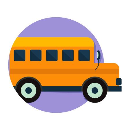 transporte escolar: Ilustraci�n del icono del autob�s escolar aislado en blanco