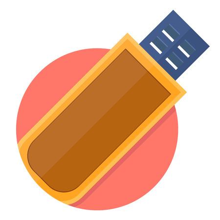 flash memory: illustration of Usb flash memory icon isolated on white