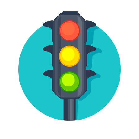 red traffic light: illustration of Traffic lights icon isolated on white