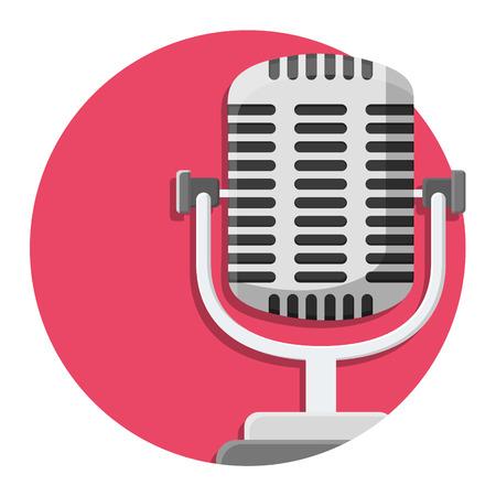 illustratie van Oude microfoon pictogram op wit wordt geïsoleerd Stock Illustratie