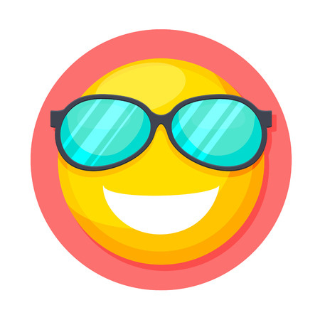 carita feliz caricatura: ilustración de la cara sonriente con el icono de las gafas de sol aislado en blanco Vectores