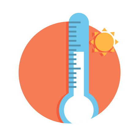 termometer: illustration of thermometer with sun icon isolated on white Illustration