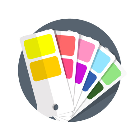 color swatch book: illustration of Color guide icon isolated on white