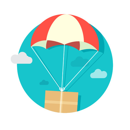 costumer: illustration package flying down from sky with parachute, delivery service concept