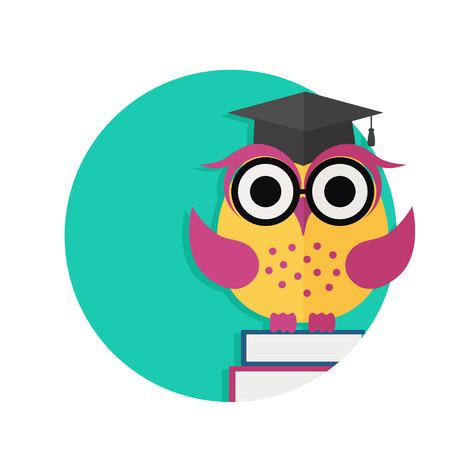 erudition: Wise owl, books and graduate cap. Flat illustration.