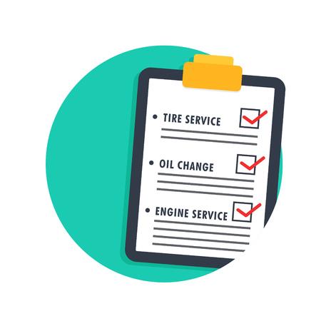 the maintenance: ilustración del icono de la lista el mantenimiento del coche aislado en blanco Vectores