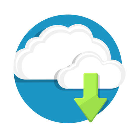 download: illustration of download cloud icon isolated on white