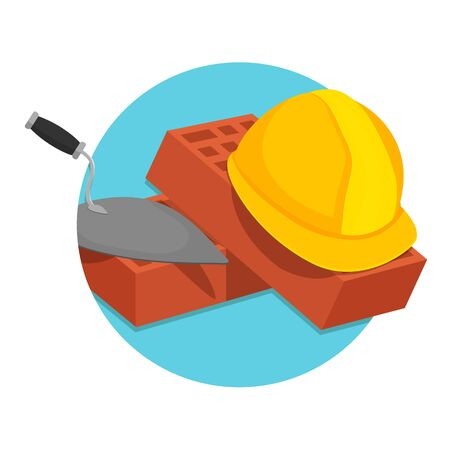 illustration of Helmet Bricks and Trowel icon isolated on white