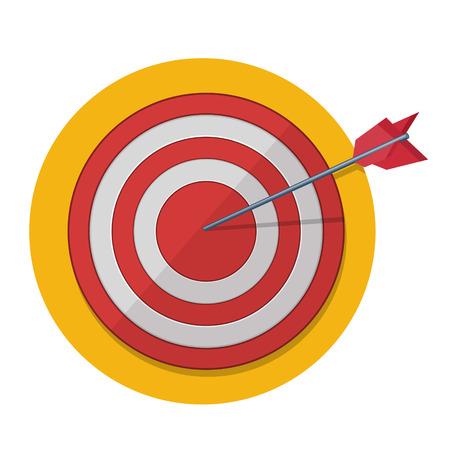 Red darts target aim. Successful shoot. Illustration