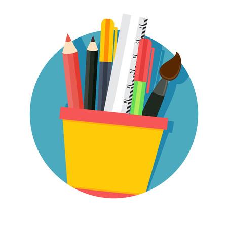 flat Vector icon - illustration of stationery set isolated on white