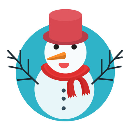 illustration of snowman icon isolated on white