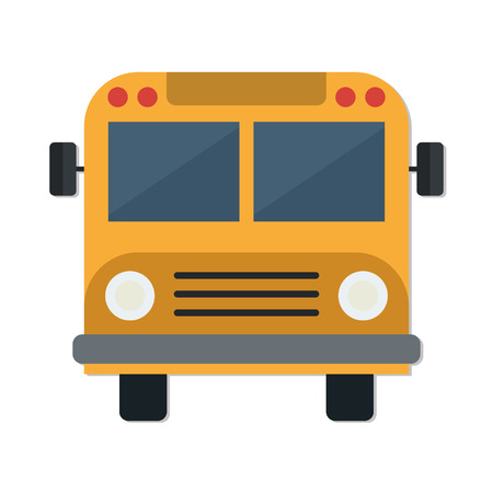 back view: flat Vector icon - illustration of School Bus icon isolated on white