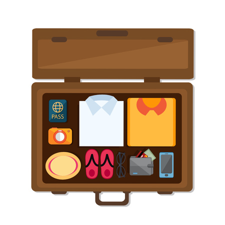 flat Vector icon - illustration of Packed suitcase for holiday icon isolated on white
