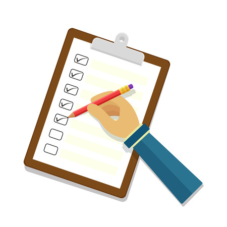businessman cartoon: Hand holding clipboard with checklist and pencil