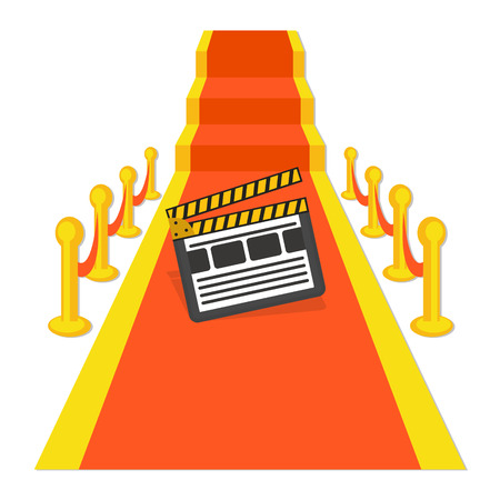 movie clapper: flat Vector icon - illustration of red carpet with movie clapper  icon isolated on white