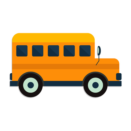 yellow schoolbus: flat Vector icon - illustration of School Bus icon isolated on white