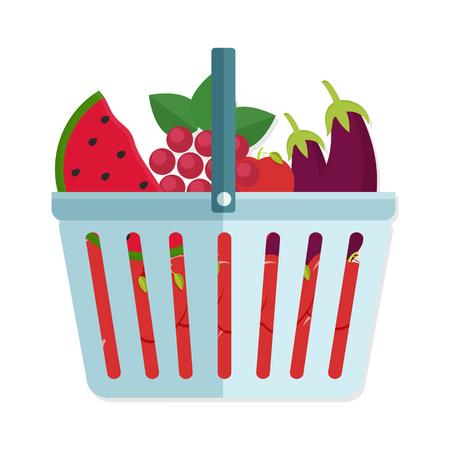 banana bread: flat Vector icon - illustration of Shopping basket full of healthy organic fresh and natural food. Flat vector icon.