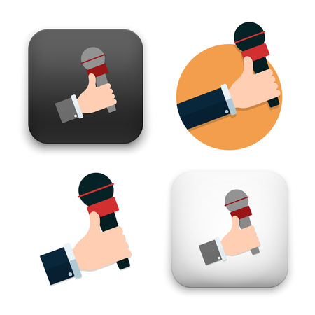 Flat vector illustration of hands holding microphones icons on white background. Illustration